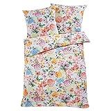Bettwäsche mit Blumen 100% Baumwoll-Renforcé Weiß Rosa Bunt - Größe 135 x 200 cm
