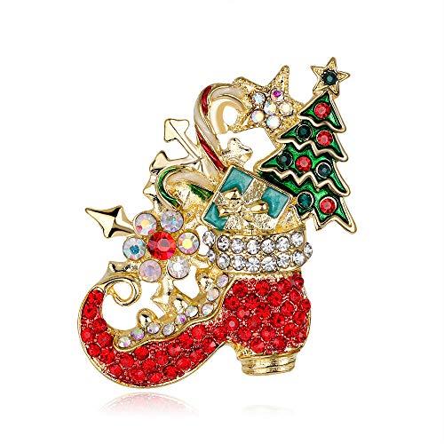 ZLXUEFL Broschen Anstecknadeln Für Damen Weihnachtsstiefel Mit Diamantbrosche -
