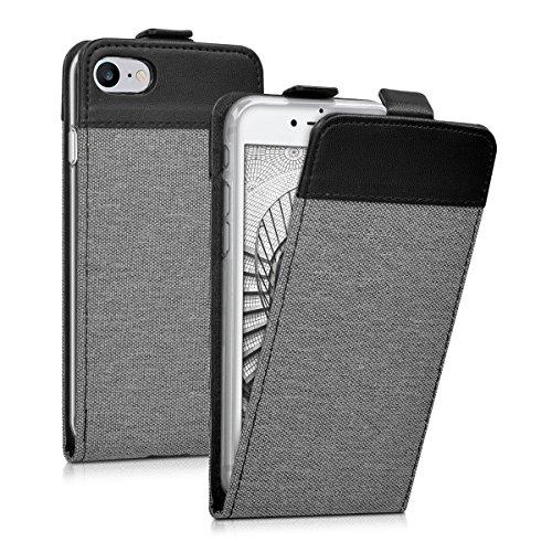 kwmobile Flip Style housse pour Apple iPhone 7 / 8 - Étui de protection rabattable en toile canvas et cuir synthétique en style flip case en gris noir .gris noir