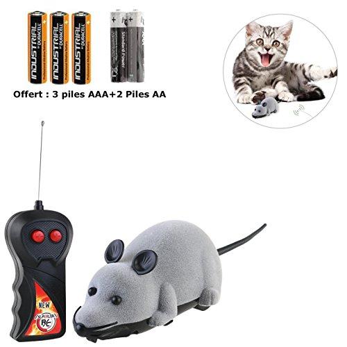 zeokone®-Telecommande ratón gato–✮ ✮ 2ans garantía ✮ ✮ -jouet gato ratón interactiva teledirigido sin fil- ✮ 5pilas) ✮ -souris peluche para gatos, perros y chatons-couleur gris