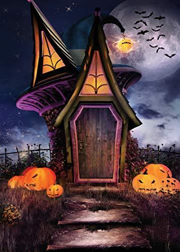 LYWYGG 5x7FT Happy Halloween Hintergrund Horror Nacht Märchen Haus Kürbis Gesicht Bat Party Fotografie Hintergrund Für Bilder Baby Kinder CP-58