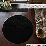 Shaggy-Teppich | Flauschiger Hochflor für Wohnzimmer, Schlafzimmer, Kinderzimmer oder Flur Läufer | einfarbig, schadstoffgeprüft, allergikergeeignet | Schwarz - 120 cm rund