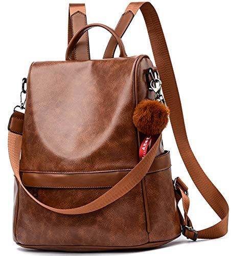 Anti-robo Mujer Mochila de Cuero de pu mochila de Bolsa de mano Mochilas Casual Bolsa de viaje Messenger Bag Backpack (marrón2)