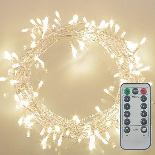GHJ 50/100/200 LED Innenraum/Draussen Wasserdicht Weihnachten Batterie Lichterkette Strip Licht Kette Leuchte mit Fernbedienung (100 LEDs, Warmweiss)