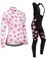 [Cojín 3D][traje[strap negro] tamaño:M] larga transpirable los ropa de rompevientos ciclismo Jerseys para manga maillot chaleco mujer rendimiento