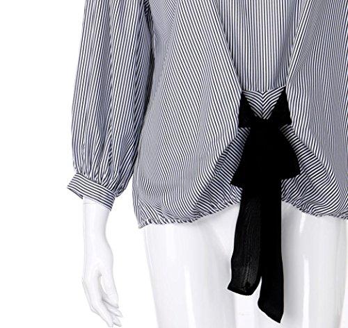 Oyedens Femme T-Shirt à Manche Longue Chemise Grand Taille Femmes Plus Size Bandage Rayé Lanterne Pullover Tops Blouse Femme Vetement Femme Pas Cher Casual Lâche Shirts Fille Blanc