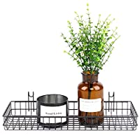 ANZOME Grid Basket, Wire Wall Basket With Hook, Wall Mount Organizer for Grid Panel, Wire Storage Shelf Rack for Home Supplies, Wall Decor(Black)