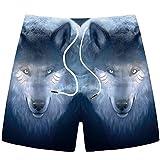 KZXCJ Wolf Shorts Pantaloncini Casual da Uomo per Uomo Prodotti Black Beach Pantaloncini con Stampa 3D Fitness Pantaloncini da Uomo Nuovi Jeans Strappati Blu Estivi da Uomo Bottoni in per Bianco