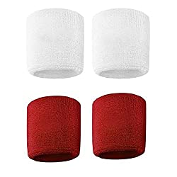 Verceys Red And White Sports All Weather And Washable Wrist Band - Pack of 4