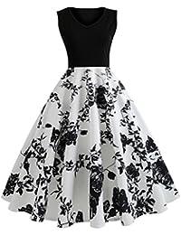 ba70e67bb31496 Damen Sommerkleider Frauen Dress Vintage Abendkleid Ärmelloses Skaterkleid  A Line Swing Mini Kleid Slim Fit Partykleid Cocktailkleid…