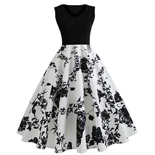 Damen Sommerkleider Frauen Dress Vintage Abendkleid Ärmelloses Skaterkleid A Line Swing Mini Kleid...