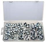 Mini kleine 2 Ohr Schlauchschellen/Klemmschelle/Leitungsschelle Schlauchklemmen-Sortiment (2-Ohr-Klemmen) 8-20 mm (im Aufbewahrungsbox/Sortimentsbox) 105-tlg.