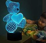 YKMY 3D Lampe Lichter LED Nachtlichter Phantom Nachtlichter 7 Farbe Touch Tischlampen Geburtstag Lichter Valentinstag USB Interface Lichter (Bär Herz)