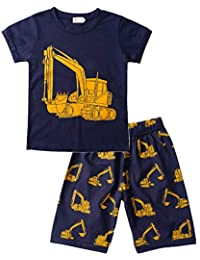 1e13402efd Tarkis Jungen Schlafanzug Feuerwehrauto/Dinosaurier/Bagger Baumwolle Kinder  Kurzarm Pyjama 92 98 104 110