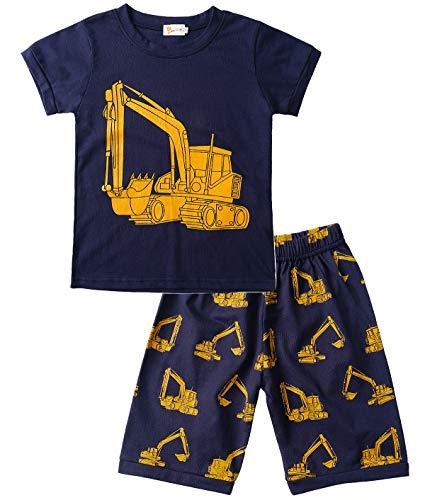 Tarkis Jungen Baumwolle Schlafanzug Kurzarm- Pyjama, 08 Dunkelblau (Bagger), Gr.-92 (Herstellergröße: 90) (8 Jungen Schlafanzüge Weihnachten Größe)