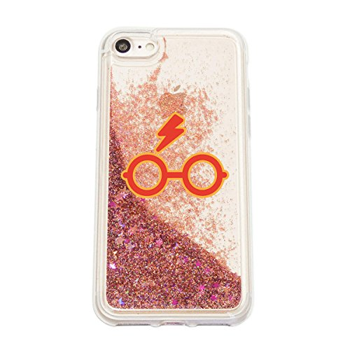finoo | Iphone SE Flüssige Liquid Rose Goldene Glitzer Bling Bling Handy-Hülle | Rundum Silikon Schutz-hülle + Muster | Weicher TPU Bumper Case Cover | Harry Potter Portrait Harry Potter Brille