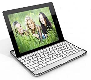 Bluetooth wireless keyboard hard plastic stand cover case for iPad 2 (white keys)