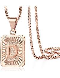 Davieslee Collar con colgante para hombre y mujer, chapado en oro rosa, letra inicial
