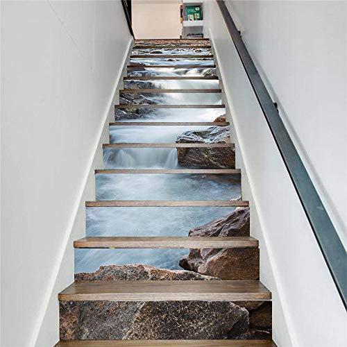 LIZHIOO Treppenaufkleber Fashion Creek Water Rock Wasserdicht Selbstklebendes Papier 3D Wandaufkleber Treppenaufkleber Home (100cm*18cm) 6pcs