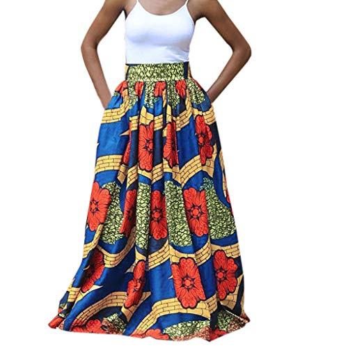 CAOQAO Damen Farblich Passende Hohe Taille Vintage Gedruckt Plissee Swing Lange Afrikanische Leated Strandrock(Gelb,L)
