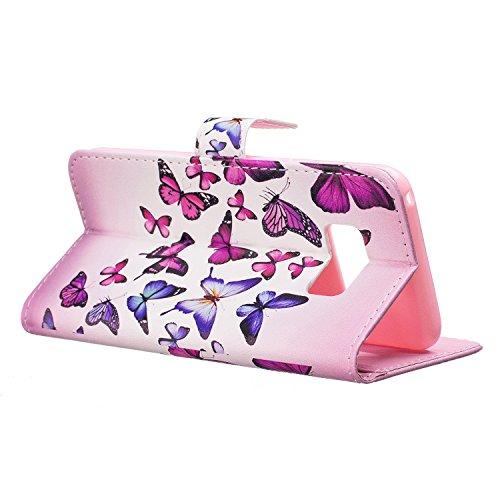 Galaxy J5 2016 Hülle [mit Frei Panzerglas Displayschutzfolie], BoxTii® Galaxy J5 2016 Schutzhülle, Premium Lederhülle Leder Tasche Handyhülle mit Kartenfächern und Bumper Silikon TPU Cover (#4 Feder) #17 Schmetterling