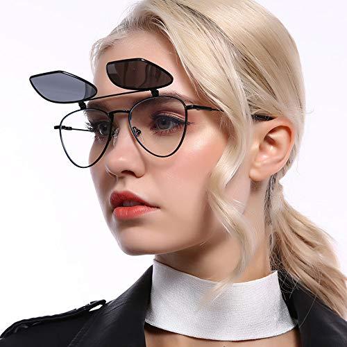 LCLZ Hohe Qualität Klassische Schwarze Polarisierte Sonnenbrille Persönlichkeit Flip Brille Metall Halbrahmen Doppelglas UV400 Schutz