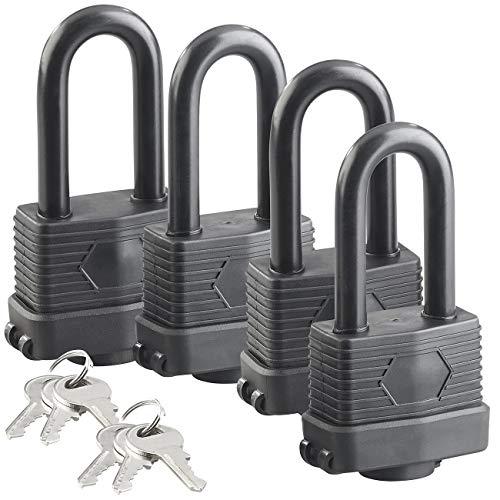 AGT Outdoor-Schlösser: 4er-Set Vorhänge-Schlösser mit XXL-Bügeln und 6 Schlüsseln (Hangschloss)