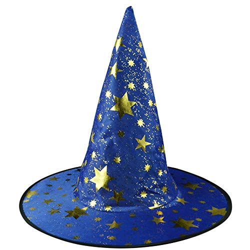 (Qiusa Der Hexen-Hut der Halloween-Erwachsenen-Frauen der Männer für Kostüm-Zusatz-Sterne druckte Kappe (Farbe : Blau))