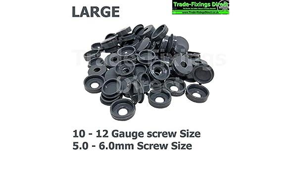 BLACK HINGED PLASTIC SCREW COVER CAPS TO FIT 6-8 GAUGE 3.5-4.0mm SCREWS