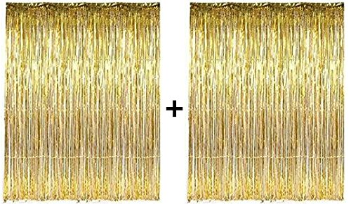 PuTwo Lametta Vorhänge Party Dekorationen 2 Packungen Golden Metallic Folie Fransen Hochzeit Geburtstag Party Supplies - Gold