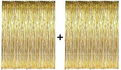 PuTwo Lametta Vorhänge Party Dekorationen 2 Packungen Golden Metallic Folie Fransen Hochzeit Geburtstag Party Supplies - Gold (Vorhang-dekoration)