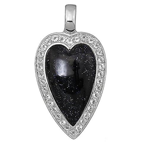 925 Sterling Silber Langer Rhodiniert Damen Herz Anhänger großer Blaufluss und funkelnde Weißtopase