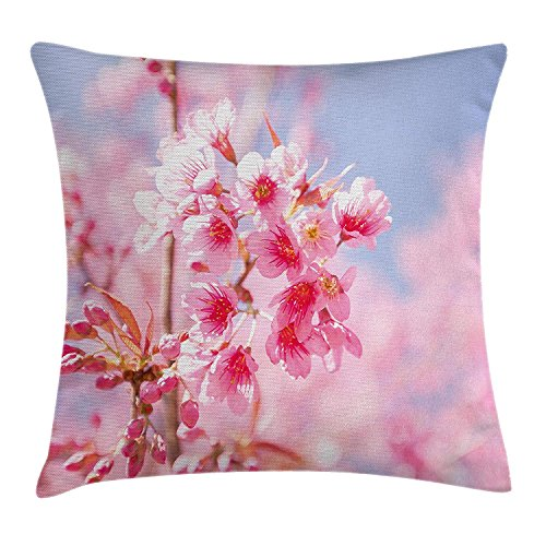 JIMSTRES Floral Throw Pillow Cushion Cover, Sakura Blossom Branches Flower Essence Fragrance Nature Elegance Picture, Decorative Square Accent Pillow Case,Light Pink Purplegrey 20x20 inches -