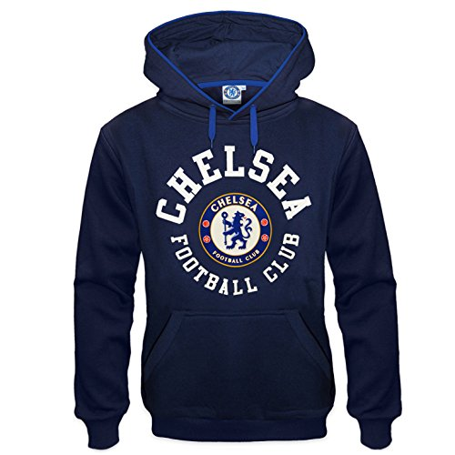 Chelsea FC Official Football Gift Mens Fleece Hoody Navy Blue XXL
