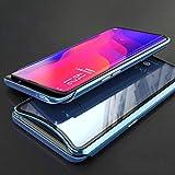 BINGRAN Oppo Find X Hülle, [Aluminium Bumper + Transparent Gehärtetem Glas Rückseite] Magnetische Adsorption Metall Case Kombination Schutzhülle Handy Hülle für Oppo Find X Blau