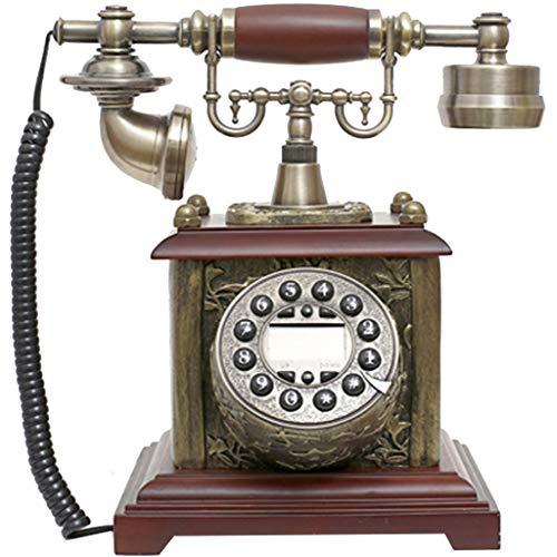JNYTD Vintage Antiken Stil Telefon, Vintage Telefonknopf Zifferblatt, Harz + Massivholz Office Home Wohnzimmer Dekoration, Wunderbare Geschenke