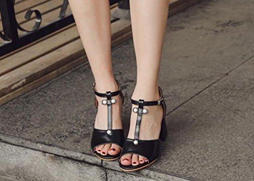 OL Casual Open Toe t di Straps Chunky Mid Heel Perle Decorazione antiscivolo elegante donna sandali EU Taglia 35–39 Black