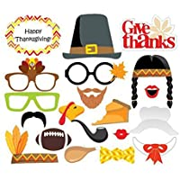 OULII Photo Booth Props 20 piece DIY Kit for Thanksgiving Wedding Party Reunions Birthdays Photobooth Dress-up Accessories Party Favors, Costumes with Mustache on a stick, Hats, Glasses, Mouth