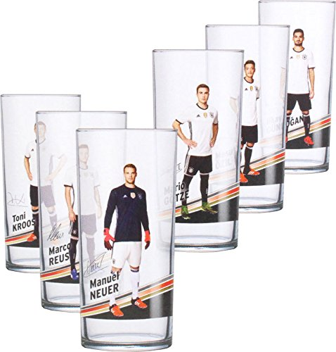 Offizielles DFB 0,3l Trink-Glas (6 Stück) der 12er Gläser Fan Set Sammlung EM WM Fussball Weltmeister Deutschland Fußball Nationalspieler mit Unterschrift (6er Motiv-Set 2)