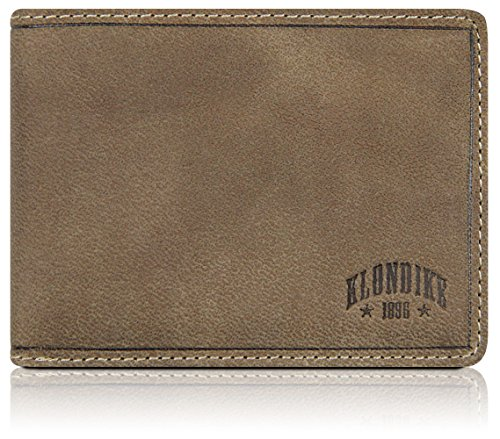 Klondike 1896 Geldbörse aus echtem Leder Tony, Echtleder Portemonnaie im Vintage Look, Limited Edition, Stone