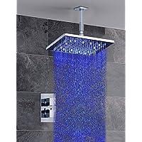 JIUUIHF Rubinetto doccia/Rubinetto vasca - American Standard - Contemporaneo - DI Ottone - LED/Cascata/Termostatico/Doccia a pioggia ( Cromo )