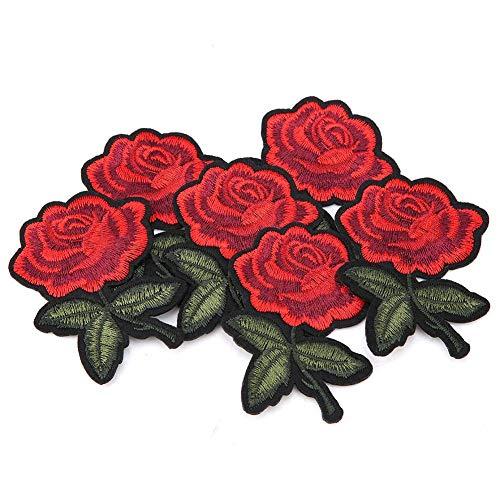 6 stücke tuch patches, gestickte rose patch applique nähen kleidung aufkleber diy bekleidungszubehör