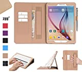 Galaxy Tab S2 9.7 Case, Samsung Galaxy Tab S2 9.7 Case, Fyy [Super Functional Series] Premium PU Leather Case Stand Cover with Card Slots, Note Holder, Quality Hand Strap and Elastic Strap for Samsung Galaxy Tab S2 9.7 Gold (With Auto Wake/Sleep Feature)