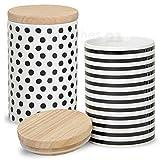 matches21 Porzellan Vorratsdosen mit Holz-Deckel 2er Set schwarz / weiß Dekor aromadicht mit Gummidichtung je 15x9 cm / 680 ml