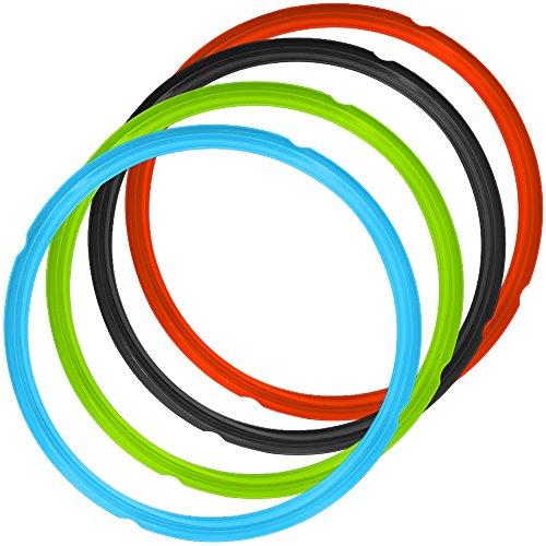 4 Pack Silikon Dichtung Ringe für Dampfkochtopf, FineGood 4 Farben 5 / 6qt Größe Sweet und Savory Edition Zubehör für Druckkocher - Blau Grün Rot Schwarz