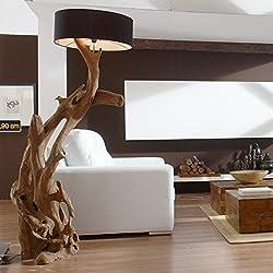 Standlampe Teak Wurzelholz RIAZ XL 200cm | Stehlampe Holz Treibholz groß | Teakholz Lampe Handarbeit mit Lampenschirm | Außergewöhnlich Standleuchte rustikal Natur