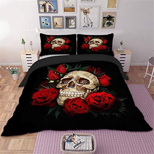 �sche-Set mit Totenkopf-Rosen, 3D-Druck, Blumen und Totenkopf, Mikrofaser, Halloween, Gothic, Bettdeckenbezug mit 2 Kissenbezügen, Single Size,140 * 200cm ()