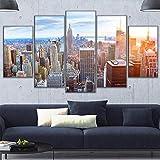 Sanzx Hd Print Modular Picture Canvas Building Poster 5 Piezas Ciudad de Nueva York Vista elevada del cielo Pintura Home Wall Art Deco 30 * 40 * 2 30 * 60 * 2 30 * 80Cm Sin marco
