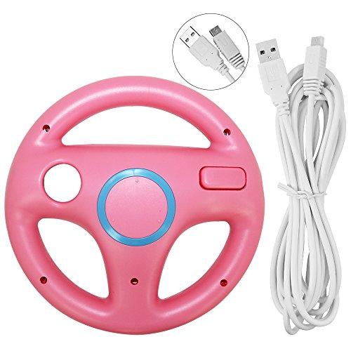 Lenkrad für Wii U und Wii mit Ladekabel, AFUNTA Racing Wheel Case für Mario Kart 8 Spiele, mit 10ft USB Ladekabel - Rosa, Weiß Wii-remote-kabel