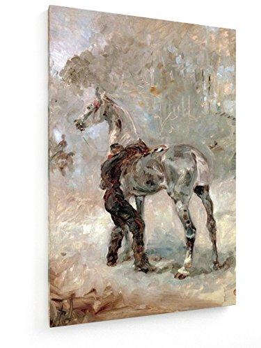 Toulouse-Lautrec, artigliere Saddling suo cavallo / 1879